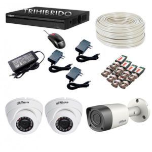 Kit De 3 Camaras De Seguridad Dahua 720p Hd + Dvr + Cable