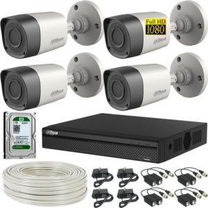 Kit De 4 Camaras De Seguridad Dahua Full Hd + Dvr Trihibrido