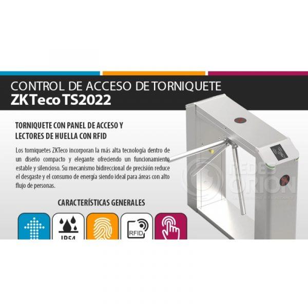 SISTEMA DE CONTROL DE ACCESO DE TORNIQUETE,TS2022, ZKTeco