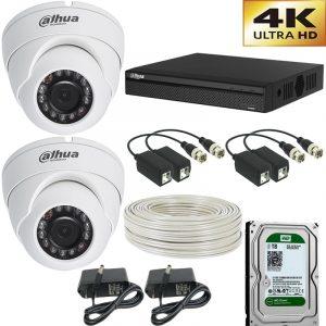 kit combo de 2 camaras de seguridad  4 megapixel domo+ disco