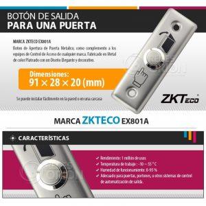 BOTON DE SALIDA METALICO, EX801A, ZKTeco