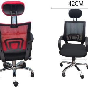 silla ejecutiva ergonómica, giratoria y reclinable en malla con cabecera