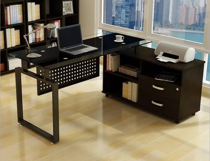 Escritorio de oficina en madera tipo l metal vidrio - Escritorios de madera para oficina ...